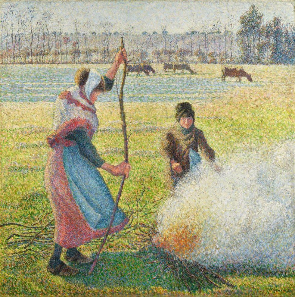 Camille Pissarro, Raureif, eine junge Bäuerin macht Feuer, Hasso Plattner Foundation, Museum Barberini