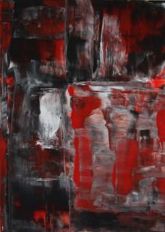 Sascha Weinberg: Rot-Grau, 50x70x1,8cm,Acryl auf Leinwand, Wischtechnik, 2011   Art On Screen - [AOS] Magazine