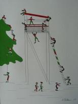 Michaela Stockhammer. Tinte, Acryl. 30x 40 cm. Tit. Ein bewegter Hochstand!   Art On Screen - [AOS] Magazine