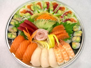 sushi and sashimi tray
