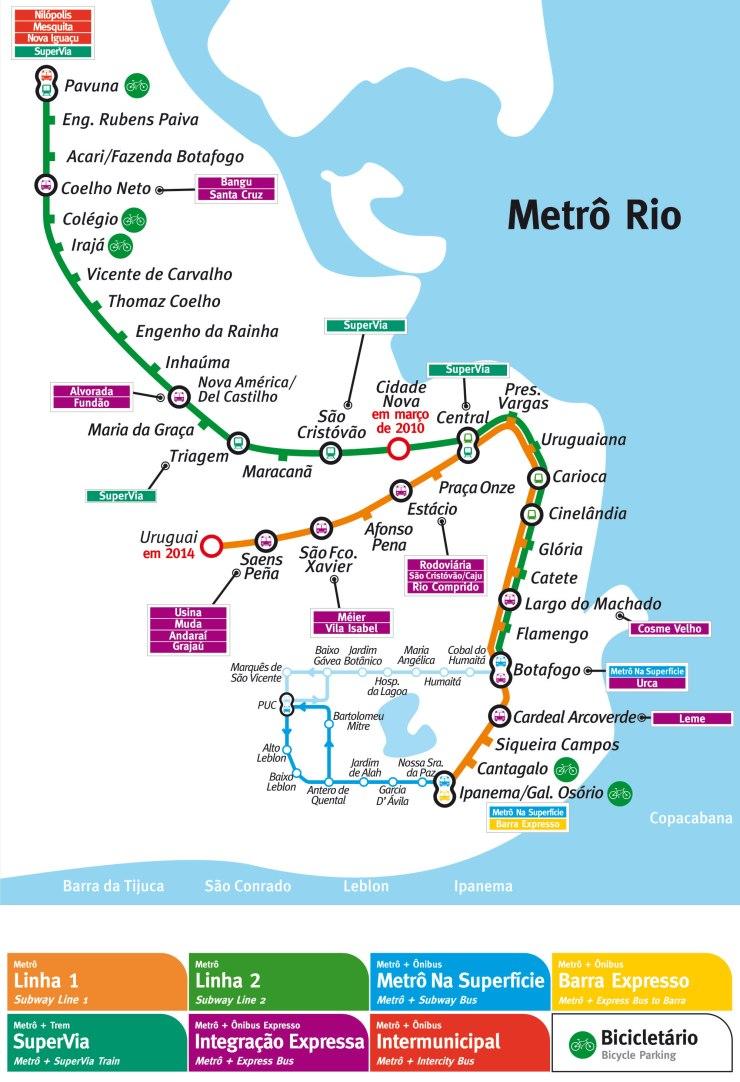 Mapa-do-Metro-do-Rio-Tamanho-Grande O que fazer no Rio de Janeiro (mais de 40 Dicas!)