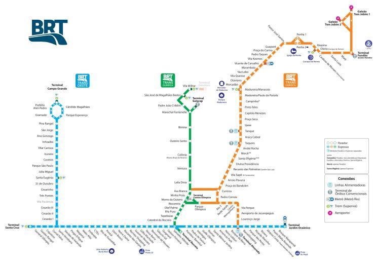 Mapa BRT do Rio Tamanho Grande