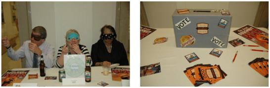 Blind taste text and ballot box