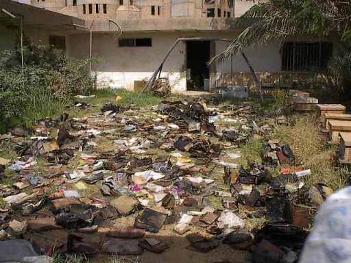 Materials drying outside the Mukhabarat