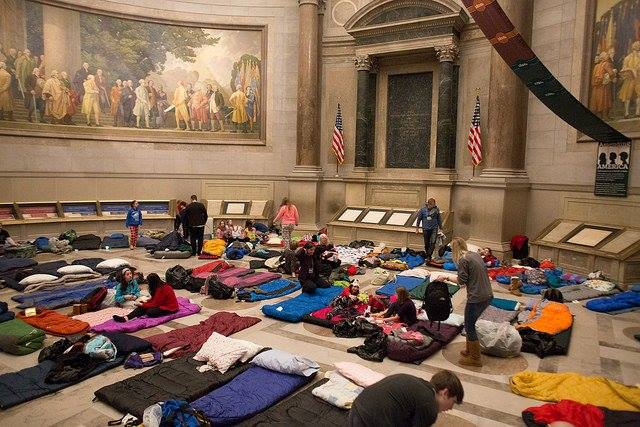 Setting up sleeping bags in the National Archives Rotunda