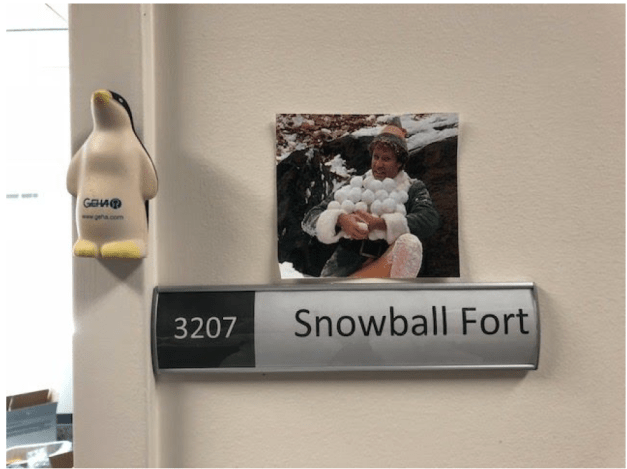 """Image of the """"snowball fort"""" sign outside the room where digital copies were transferred from hard drives."""