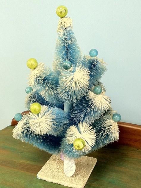 Photo Holiday Blue Bottle Brush Tree