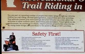 MNDNR ATV rules and regulations sign posted at ATV trailhead in Spider Lake Trails Recreational area. Found in the southwest corner of the Foot Hills State Forest in Minnesota
