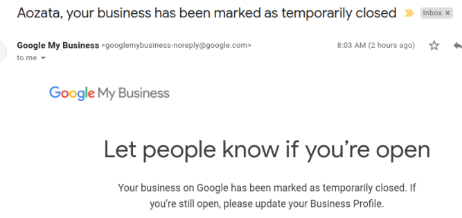 """Your business has been marked as temporarily closed"" - How to mark your Google my Business as open? 3"