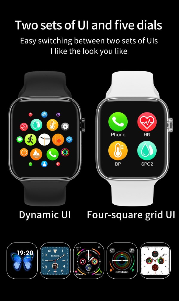 F18 men and women smart watches, fitness tracking bracelets, heart rate monitors, touch and keys, waterproof IP67 6