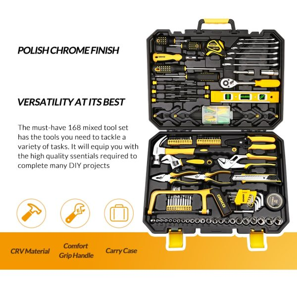 DEKO Hand Tool Set General Household Repair Hand Tool Kit with Plastic Toolbox Storage Case Socket Wrench Screwdriver Knife 2