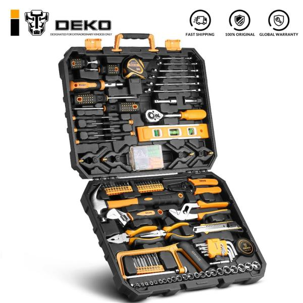 DEKO Hand Tool Set General Household Repair Hand Tool Kit with Plastic Toolbox Storage Case Socket Wrench Screwdriver Knife 1