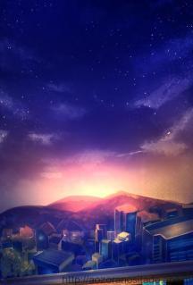 ベランダからみた夕焼けの街並