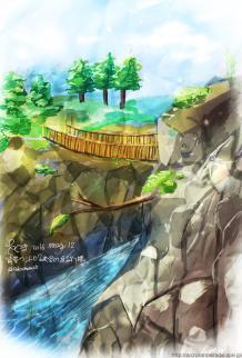 ワンドロ「峡谷に架かる吊り橋」