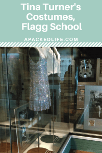 Stage costumes on display at Flagg School where Tina Turner did her sums