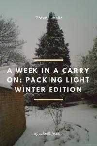 a week in a carry on - packing light winter edition - trees in snow