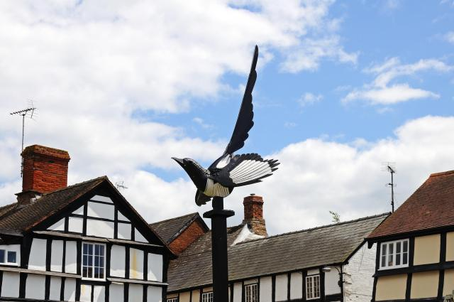Discovering Herefordshire's Hidden Black And White Villages - the magpie sculpture, Weobley, Herefordshire