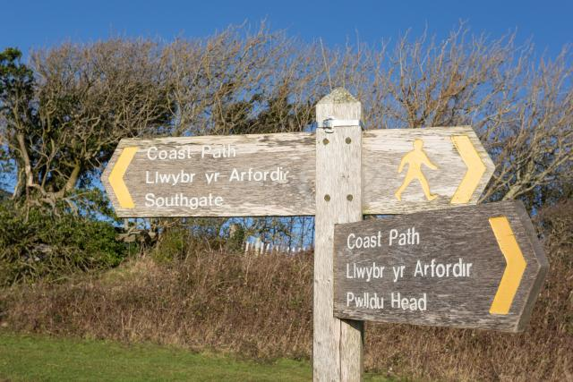 Wales Coast Path sign Southgate and Pwlldu Head on the Gower, South Wales