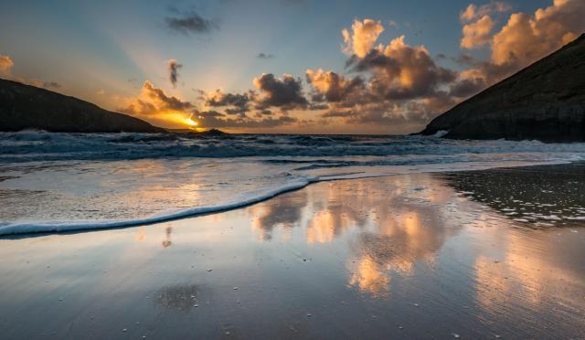 Sunset at Mwnt beach, Ceredigion Heritage Coast, Wales