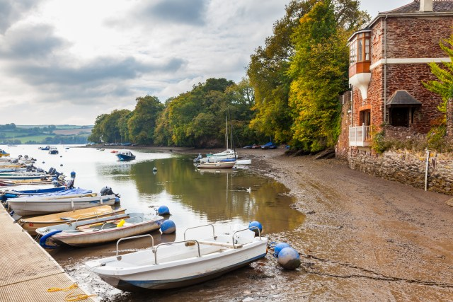 Prettiest Villages In Devon - board moored in the creek, Stoke Gabriel