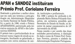 APAH SANDOZ - Prémio Coriolano Ferreira