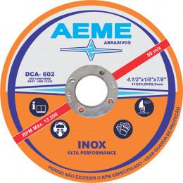 Disco de corte DCA 802 para inox de alta performance da AEME com rótulo branco e laranja.