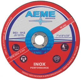 Disco de corte DCI 512 para inox da AEME com rótulo vermelho e branco.