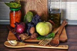 Frutas y verduras antes de su preparación.