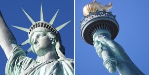 Close Up of Statue-of-Liberty Face and Torch