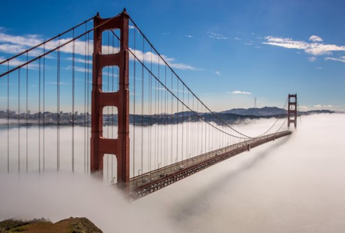 Golden Gate Bridge and Fog Clouds