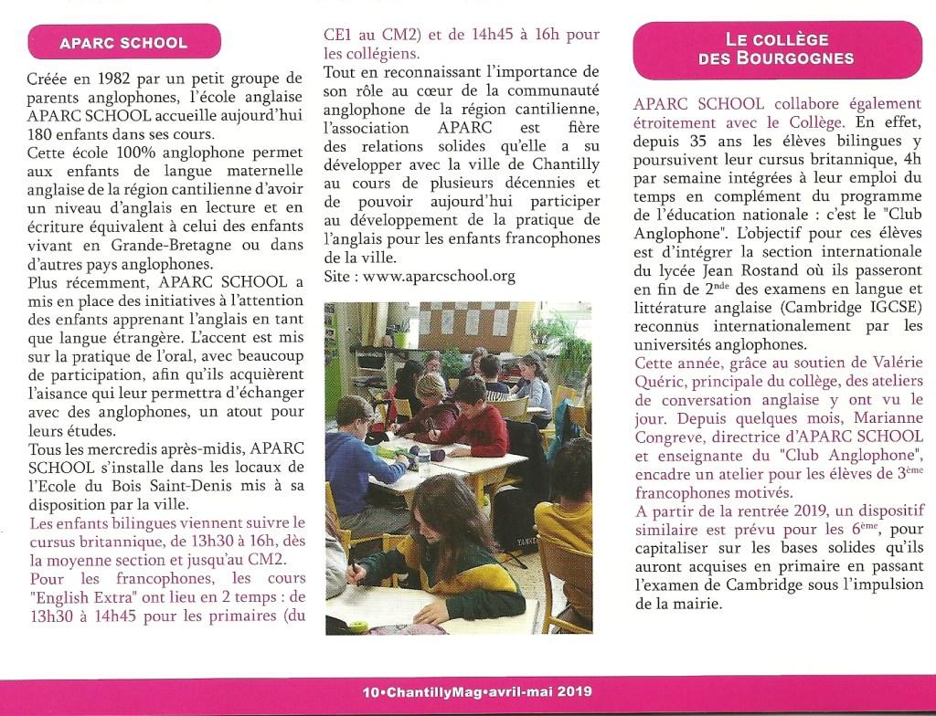 Article sur l'école anglaise APARC School dans le magazine de la ville de Chantilly, édition Avril Mai 2019.
