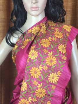 The Shantineketan Collection Onion Pink Kantha; Sprays Of Yellow Blossoms