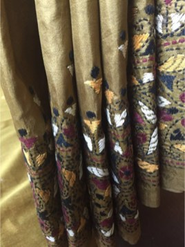 The Shantineketan Collection Almond Silk Kantha With Brown, Black, White