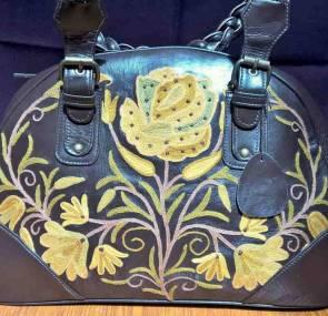 Black Leather Designer Handbag; Kashmir