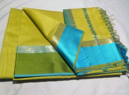 Green Maheshwari Silk Saree With Blue Border