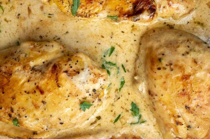 Пилешко филе със сметана и пармезан