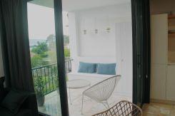 Terraza con vistas al mar (Ría de Pontevedra) en Apartamento Lapamán