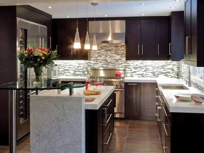 Small Modern Kitchen With Dark Cabinets