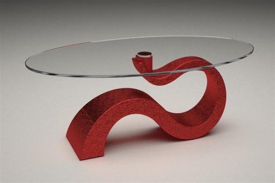 Glass Coffee Table Tops A Maroon U201csu201d Shaped Base By Italian Design Company  Taavoli.