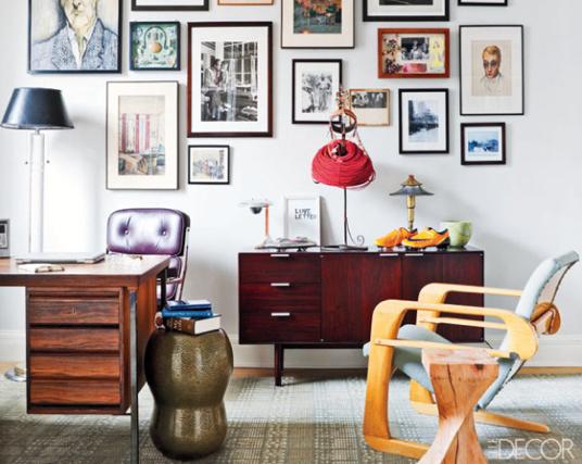 Etonnant Eclectic Vintage Home Office Via Elle Decor