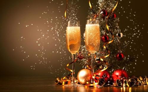 Happy New Year 2016 Celebration Champagne Glasses Desktop Wallpaper