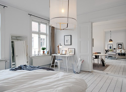white apartment room design