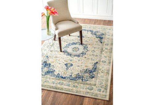 daran rug blue and taupe