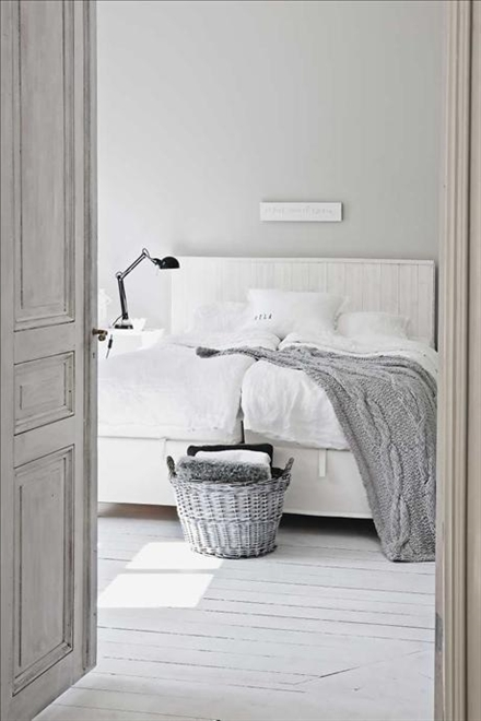 grey and white rustic bedroom