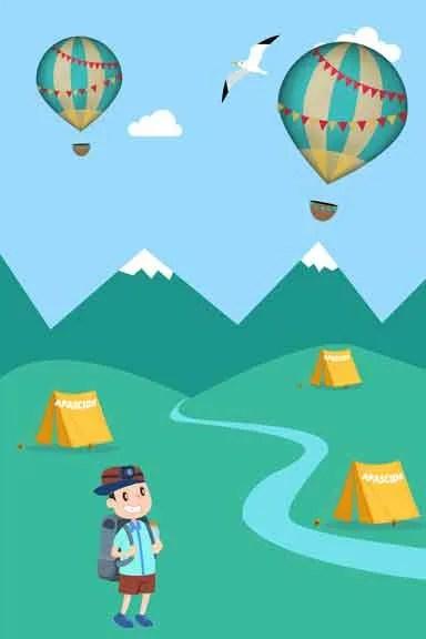 campamento con globo aerostático