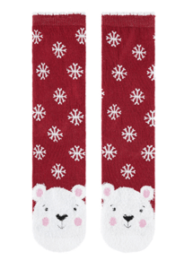 FLUFFY POLAR BEAR FACE SOCKS accessorize