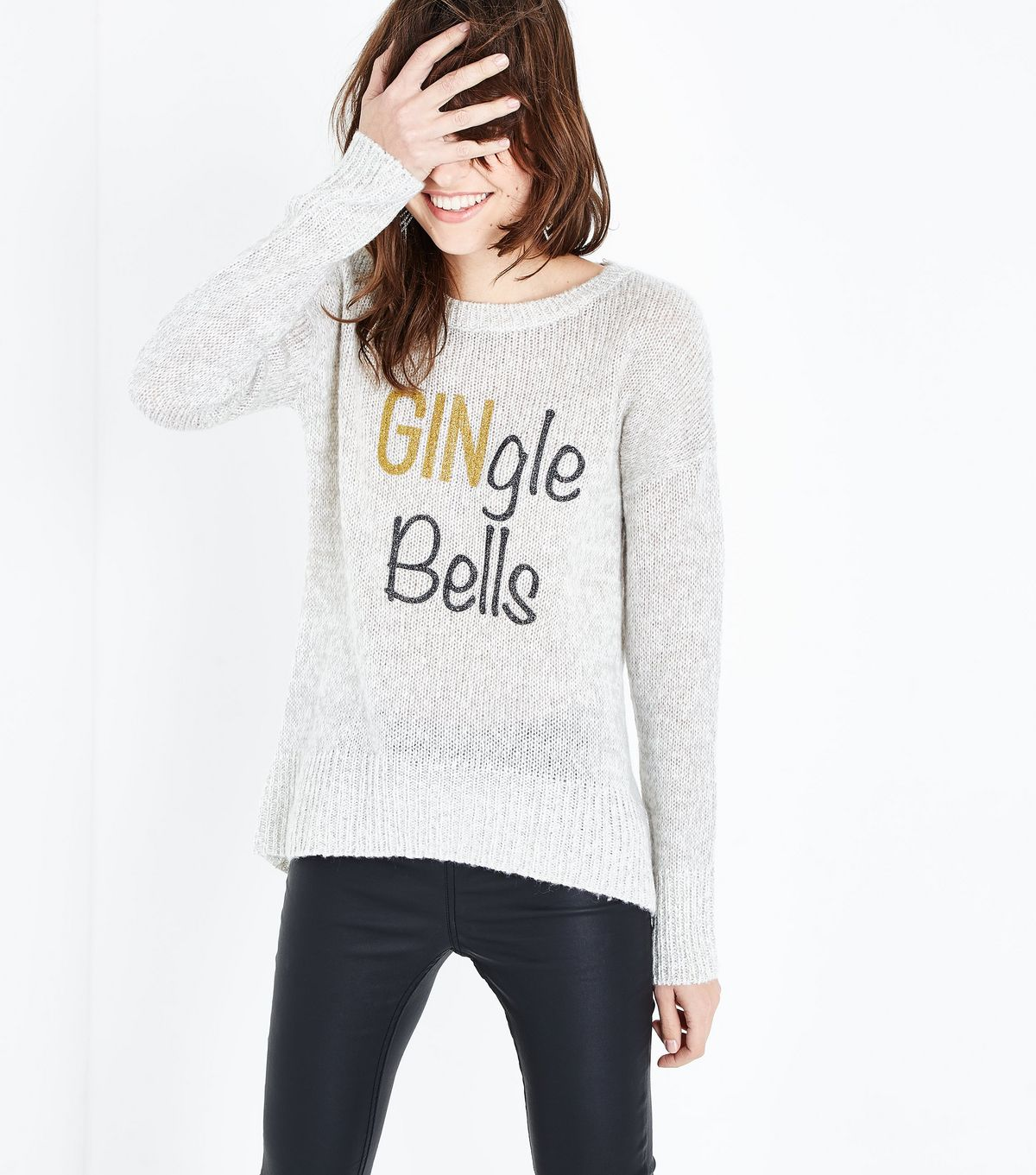 Grey Gingle Bells Glitter Print Christmas Jumper new look