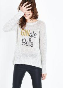 Grey Gingle Bells Glitter Print Christmas Jumper new look