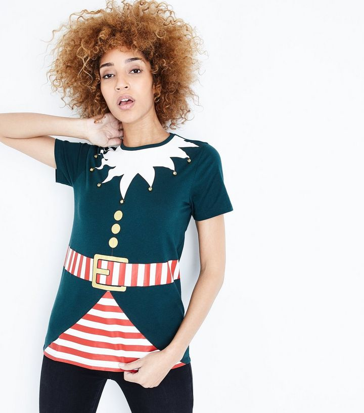NEWLOOK dark-green-christmas-elf-t-shirt