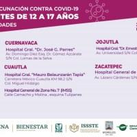 Continúa vacunación contra COVID19 a adolescentes de 12 a 17 años con comorbilidades en Morelos